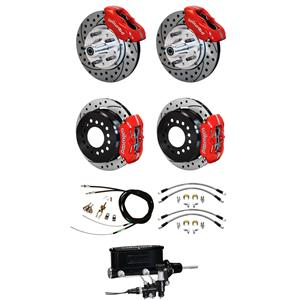 "64-72 Chevelle Manual 4 Wheel Disc Brake Conversion Kit 11"" Drilled Red Caliper"