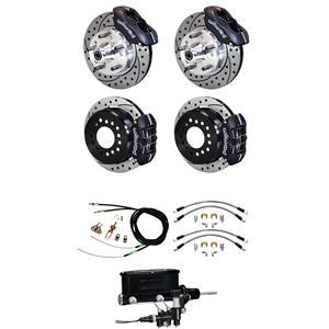"""73-77 Chevelle Manual 4 Wheel Wilwood Disc Brake Kit 11"""" Drilled Black Caliper"""