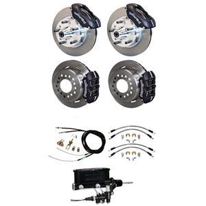 """65-69 Mustang Wilwood Manual 4 Wheel Disc Brake Kit 11"""" Rotors Black Caliper"""
