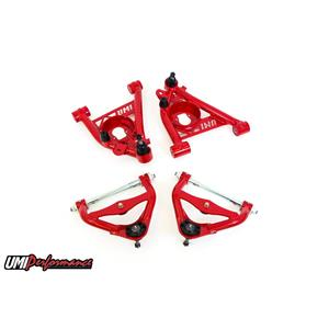 UMI Performance 303133-R GM G-Body Upper and Lower Front Control Arm Kit No Upper Ball Joint - Red