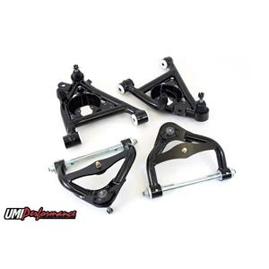 UMI Performance 303233-1-B GM G-Body Up & Low Front Control Arm Kit Delrin Std Upper Ball Joint - BL