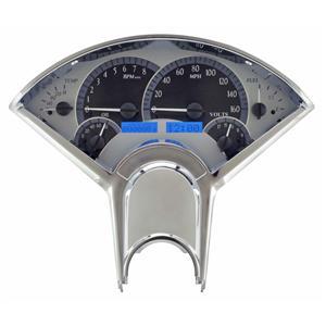 Dakota Digital 55-56 Chevy Car VHX Analog Gauges Silver Alloy Blue w/ Carrier
