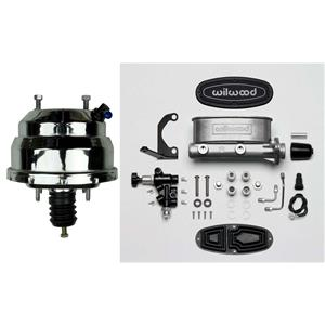 """Chrome 8"""" Booster w/ Wilwood 1"""" Master Cylinder Natural w/ Proportioning Valve"""