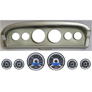 61-66 Ford Truck Silver Dash Carrier w/ Dakota Digital VHX Universal 6 Gauge