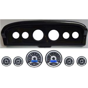 61-66 Ford Truck Carbon Dash Carrier w/ Dakota Digital VHX Universal 6 Gauge