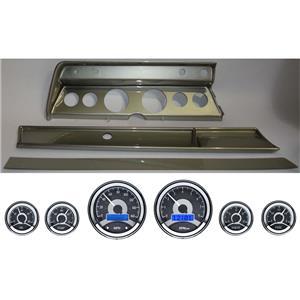 67 Chevelle Silver Dash Carrier Panel w/ Dakota Digital VHX Universal 6 Gauge
