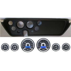 67 GTO Black Dash Carrier Panel w/ Dakota Digital VHX Universal 6 Gauge