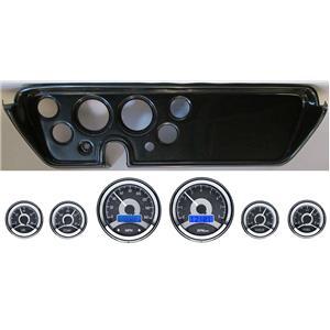 67 GTO Carbon Dash Carrier Panel w/ Dakota Digital VHX Universal 6 Gauge