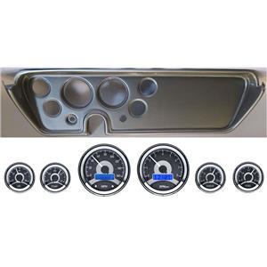 67 GTO Silver Dash Carrier Panel w/ Dakota Digital VHX Universal 6 Gauge