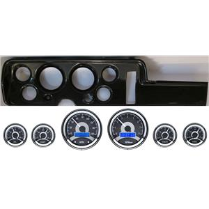 68 GTO Carbon Dash Carrier Panel w/ Dakota Digital VHX Universal 6 Gauge