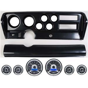 70-72 GTO Carbon Dash Carrier Panel w/ Dakota Digital VHX Universal 6 Gauge