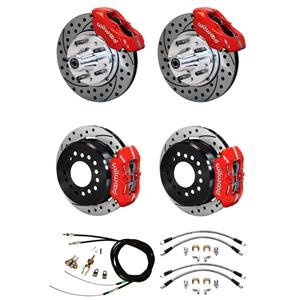 "65-69 Mustang Wilwood 4 Wheel Disc Brake Kit 11"" Drilled Red Caliper"