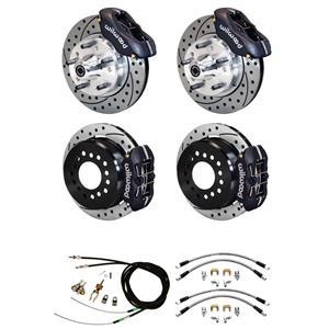 "55 56 57 Bel Air Wilwood 4 Wheel Disc Brake Kit 11"" Drilled /Black Caliper"
