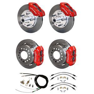 """73-77 Chevelle Wilwood 4 Wheel Disc Brake Kit 11"""" Rotors Red Caliper"""