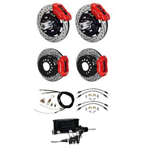 "Wilwood 55-57 Bel Air Manual 4 Wheel Disc Brake Kit 12"" Plain Rotor Red Caliper"