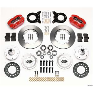 "Wilwood 65-69 Mustang Manual 4 Wheel Disc Brake Kit 11"" Plain Rotor Red Caliper"
