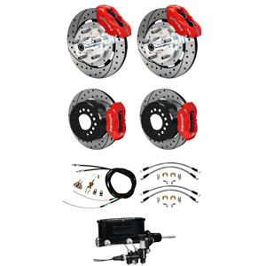 "Wilwood 65-69 Mustang Manual 4 Wheel Disc Big Brake Kit 12"" Drilled Red Caliper"