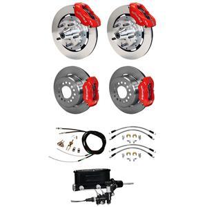 """Wilwood 65-69 Mustang Manual 4 Wheel Disc Big Brake Kit 12"""" Plain Red Caliper"""