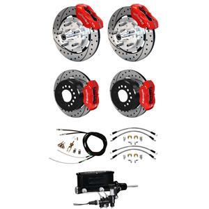 "Wilwood 65-68 Impala Manual 4 Wheel Disc Big Brake Kit 12"" Drilled Red Caliper"