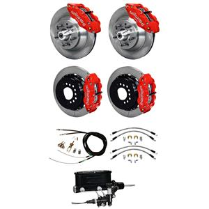 Wilwood 64-72 Chevelle 4 Wheel Manual Disc Big Brake Kit Plain Rotor Red Caliper