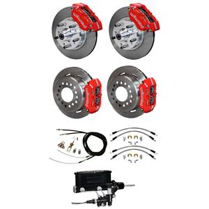 "Wilwood 64-74 Chevy A F X Body 4 Wheel Man Disc Brake Kit 11"" Plain Red Caliper"