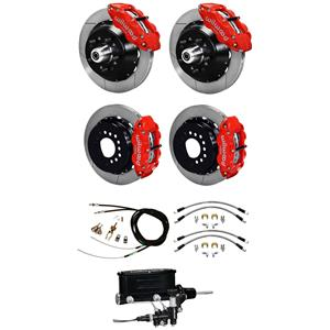 "Wilwood 67-69 Camaro 4 Wheel Man Disc Big Brake Kit 13"" Plain Rotor Red Caliper"