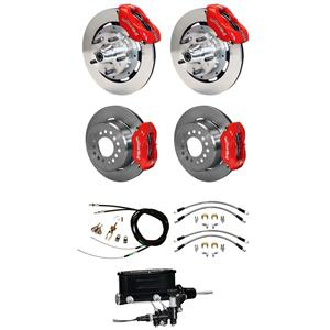 Wilwood 67-69 Camaro Manual 4 Wheel Disc Big Brake Kit Plain Rotor Red Caliper