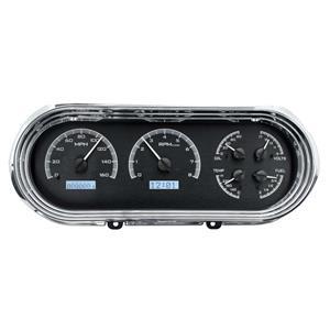 Dakota Digital 62-65 Chevy Nova VHX Analog Gauges Black Alloy White w/ Carrier