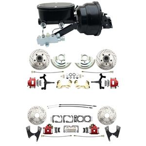 """6472 A-body 4 Wheel Power Disc Brake Kit 8""""B Drilled Slotted Red Caliper 2"""" Drop"""