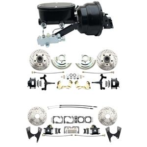 "64-72 A body 4 Wheel Power Disc Brake Kit 8"" Drilled Slot Black Caliper 2"" Drop"
