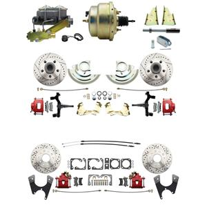 "64-72 A-body 4 Wheel Power Disc Brake Kit 8"" Drilled Slotted Red Caliper 2"" Drop"
