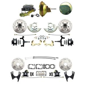 "67 F-body 4 Wheel Power Disc Brake Kit 11D Drilled Slotted Black Caliper 2"" Drop"