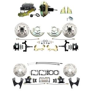 "67 F-body 4 Wheel Power Disc Brake Kit 9"" Drilled Slotted Black Caliper 2"" Drop"