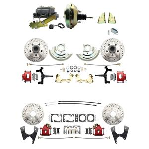 "67 F-body 4 Wheel Power Disc Brake Kit 9"" Drilled Slotted Red Caliper 2"" Drop"