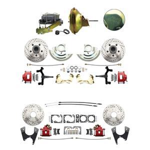 "6772 A-body 4 Wheel Power Disc Brake Kit 11D Drilled Slotted Red Caliper 2"" Drop"
