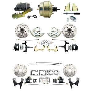 "F/X Body 4 Wheel Power Disc Brake Kit 8"" Drilled Slotted Black Caliper 2"" Drop"
