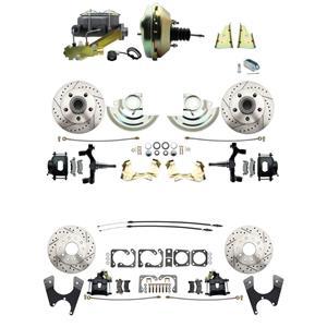 "F/X Body 4 Wheel Power Disc Brake Kit 9"" Drilled Slotted Black Caliper 2"" Drop"