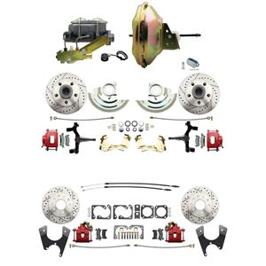 """F/X Body 4 Wheel Power Disc Brake Kit 11"""" Drilled Slotted Red Caliper 2"""" Drop"""
