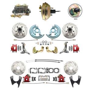 62-67 Nova Front & Rear Power Disc Brake Kit Drilled Slotted Red Caliper