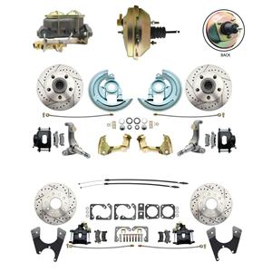 62-67 Nova Front & Rear Power Disc Brake Kit Drilled Slotted Black Caliper