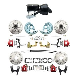 "6472 A-body 4 Wheel Power Disc Brake Kit 8""B Drilled Slotted Red Caliper No Drop"