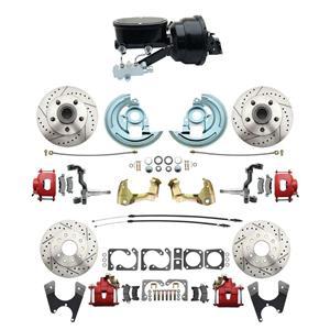"67 F-body 4 Wheel Power Disc Brake Kit 8""B Drilled Slotted Red Caliper No Drop"
