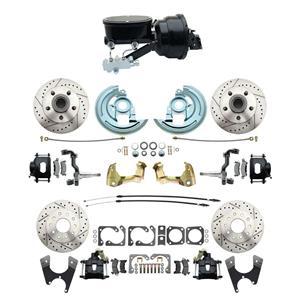 "6472 Abod 4 Wheel Power Disc Brake Kit 8""B Drilled Slotted Black Caliper No Drop"