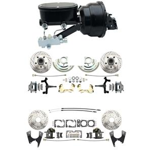 "6472 A-body 4 Wheel Power Disc Brake Kit 8""B Drilled Slotted Raw Caliper 2"" Drop"