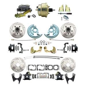 "6472 Abody 4 Wheel Power Disc Brake Kit 8"" Drilled Slotted Black Caliper No Drop"