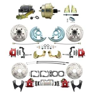 """64-72 A-body 4 Wheel Power Disc Brake Kit 8"""" Drilled Slotted Red Caliper No Drop"""