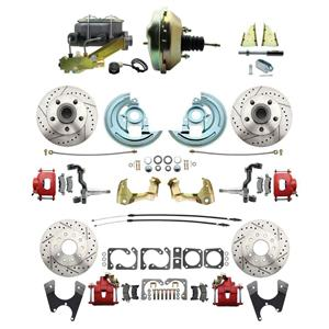 """64-72 A-body 4 Wheel Power Disc Brake Kit 9"""" Drilled Slotted Red Caliper No Drop"""