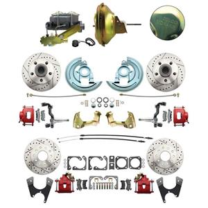 67 F-body 4 Wheel Power Disc Brake Kit 11D Drilled Slotted Red Caliper No Drop