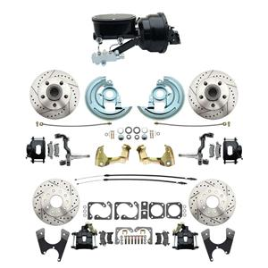 "67 F-body 4 Wheel Power Disc Brake Kit 8""B Drilled Slotted Black Caliper No Drop"