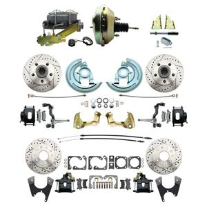 "F/X Body 4 Wheel Power Disc Brake Kit 9"" Drilled Slotted Black Caliper No Drop"